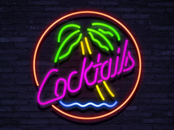 neon Cocktails Palmtree